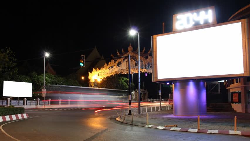 4K Billboard white screen in night street. timelapse  | Shutterstock HD Video #17522782