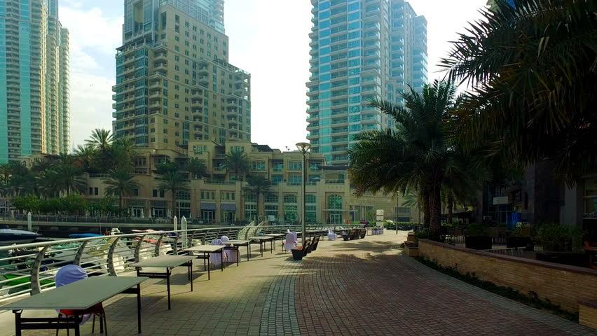 Walking at Dubai Jumeira Marina video 4k. Skyscrapers modern buildings Travel tourism Real Estate business in United Arab Emirates    Shutterstock HD Video #17528794