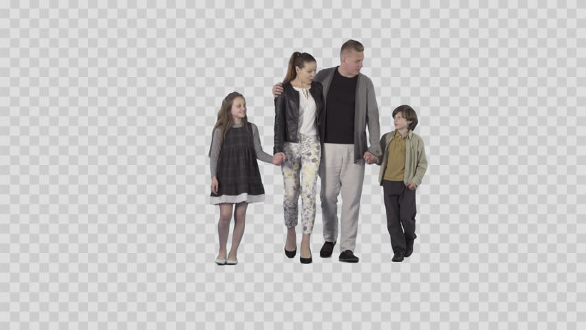 Young mother and father are walking with son & daughter at the camera. Camera is static. Lens 85 mm. Footage with alpha channel. File format - .mov, codec PNG+Alpha