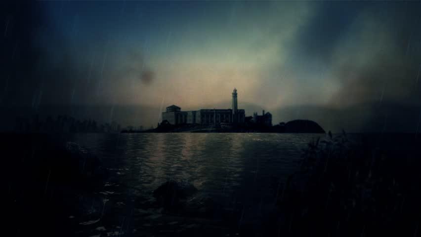 Prison Alcatraz Under a Storm