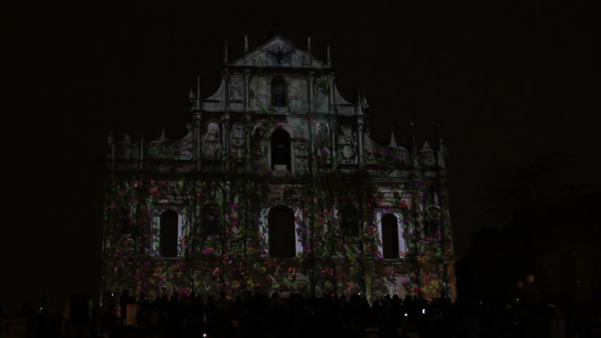 MACAU, CHINA - DEC09, 2015: Light sow at Ruins of St.Paul's for celebrate Christmas and New year day.   Shutterstock HD Video #17544373