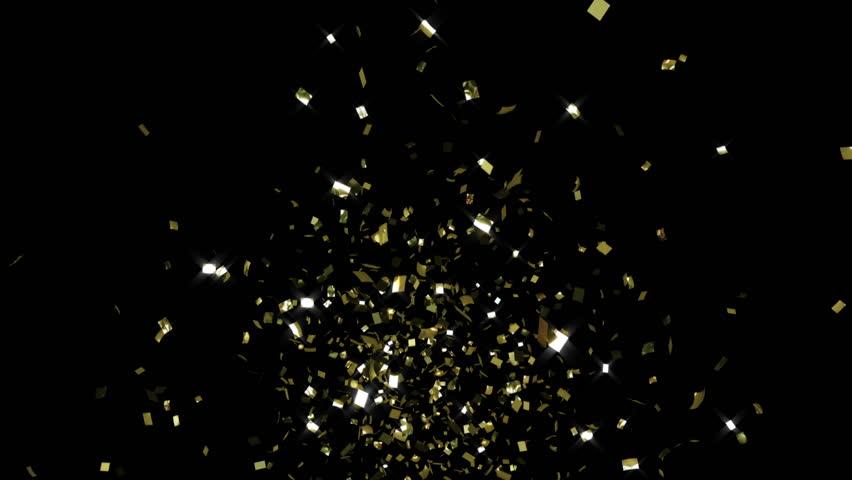 Single cracker 2, gold confetti, toward camera, CG with alpha mask | Shutterstock HD Video #17547484