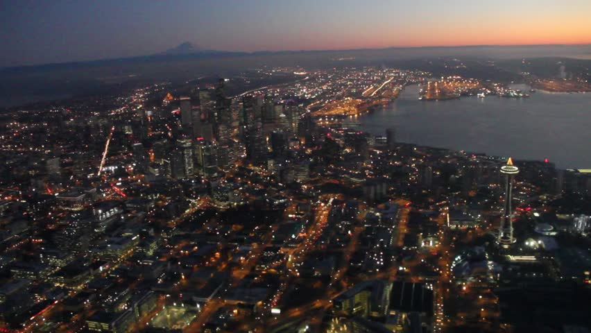 Two Aerial Night Views of Seattle Royalty-Free Stock Footage #1754930