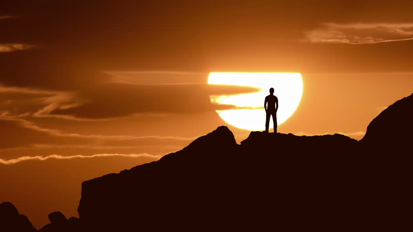 5 in 1 video! The man stand on the rock on the background of sunrise. Time lapse | Shutterstock HD Video #17558044