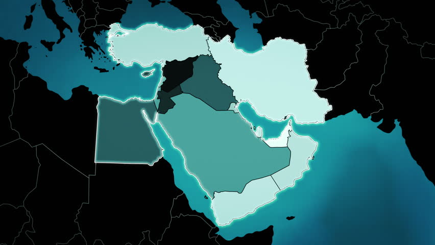 Highly detail map of the Middle East region, showing the countries, airports and routes. Blue.