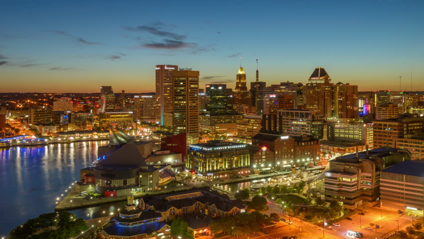 Baltimore, Maryland, USA downtown skyline time lapse at sunset.