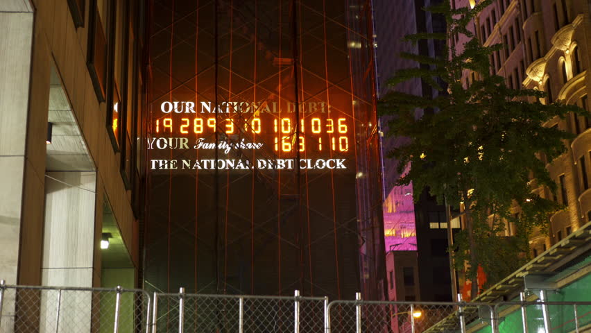 NEW YORK CITY, NEW YORK - JUNE 6: Our National Debt clock under construction in downtown New York City, New York on June 6, 2016.