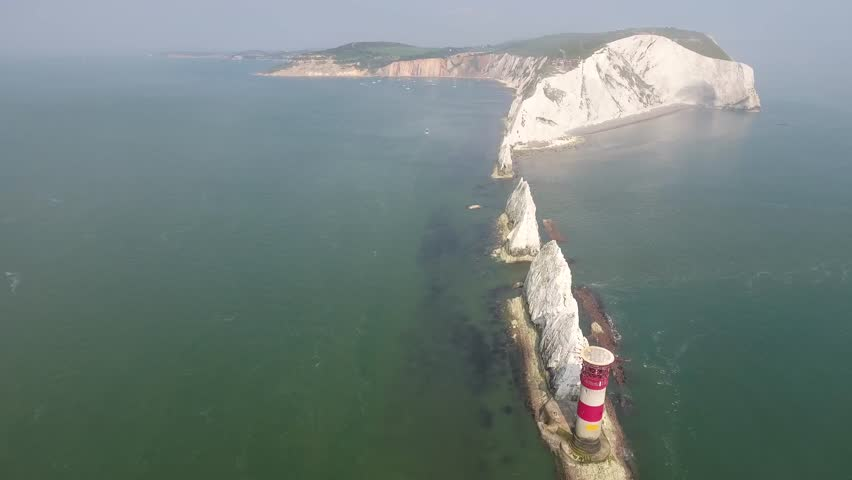 England Isle of Wight Aerial View West End Alum Bay National Trust The Needles Needles New Battery Scratchell´s Bay including Lighthouse and Boats