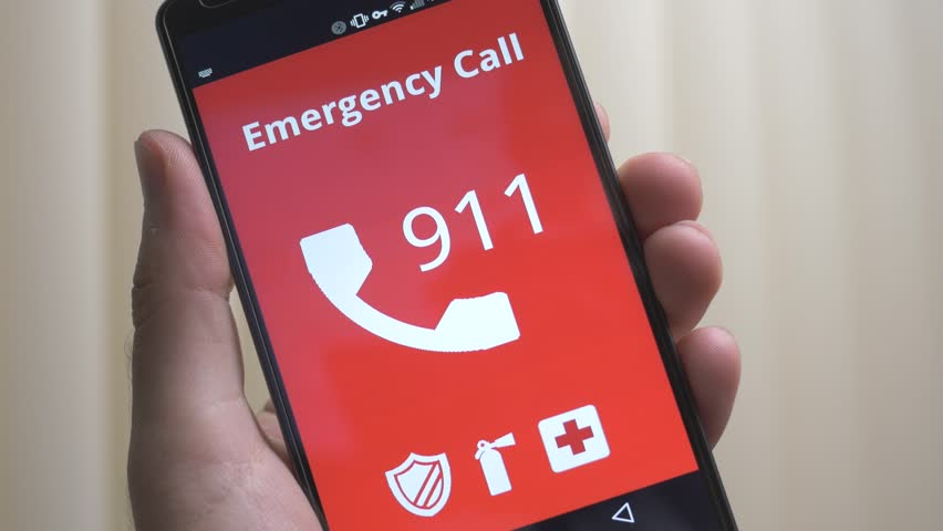 Calling 9-1-1 on s smartphone.