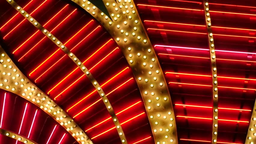 Red Neon Las Vegas Casino Sign at Night | Shutterstock HD Video #17619652