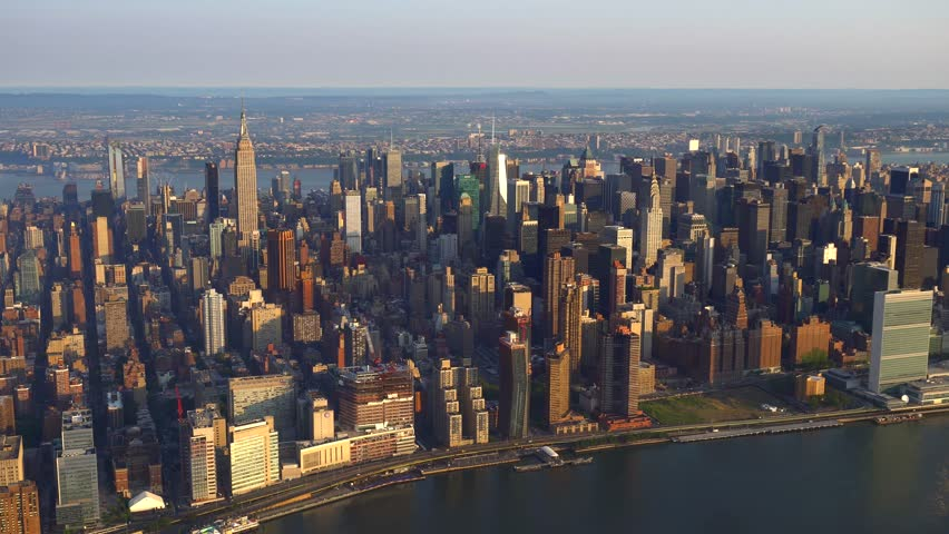 New York AERIAL midtown view NW, United Nations.  4K 100 mps aerials of NYC. From dedicated aircraft, no plastic windows, gyro stabilized.