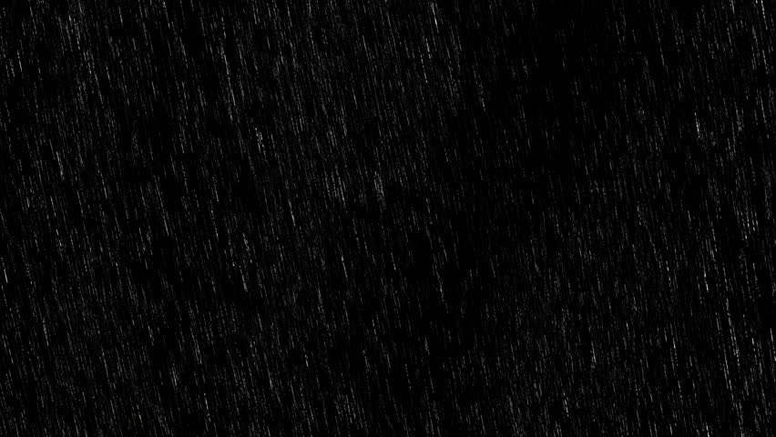 Falling raindrops footage animation in realtime on black background, black and white luminance matte, seamlessly looped animation, perfect for film, digital composition, projection mapping