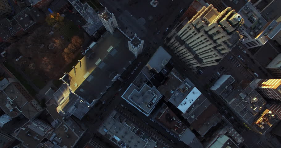 Aerial fly over Montreal City Hall, Canada (November 01, 2015 - Montreal, Canada)