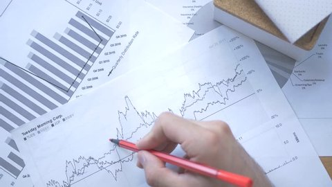 Analyzing some stock market reports and taking notes over them.