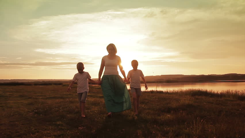 Family Walking Beach Sunset Travel Holiday Concept #17667493