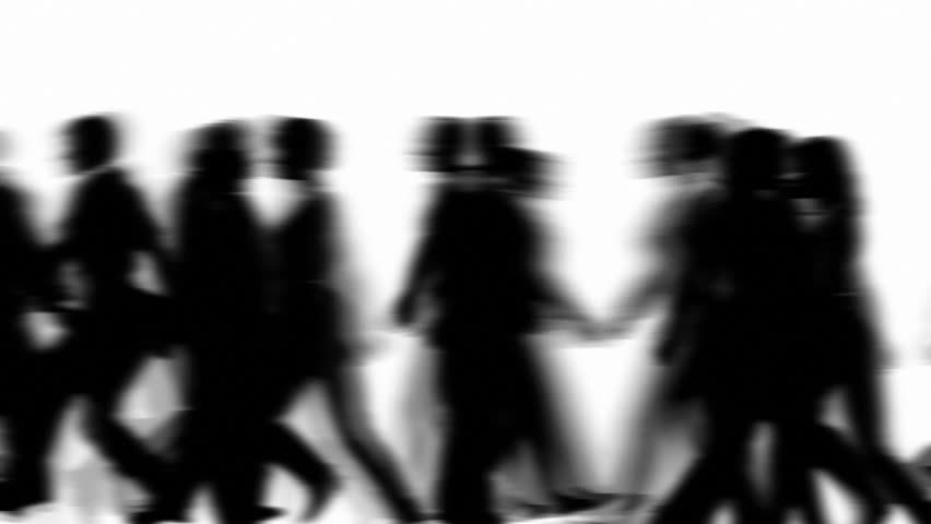 People Walking By 3D Vector Silhouette Animation
