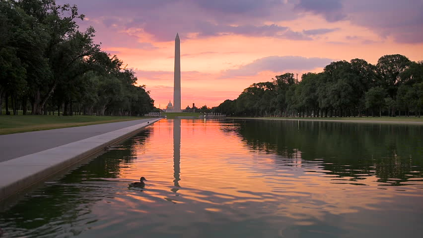 Washington DC at the Reflecting Pool and Washington Monument.
