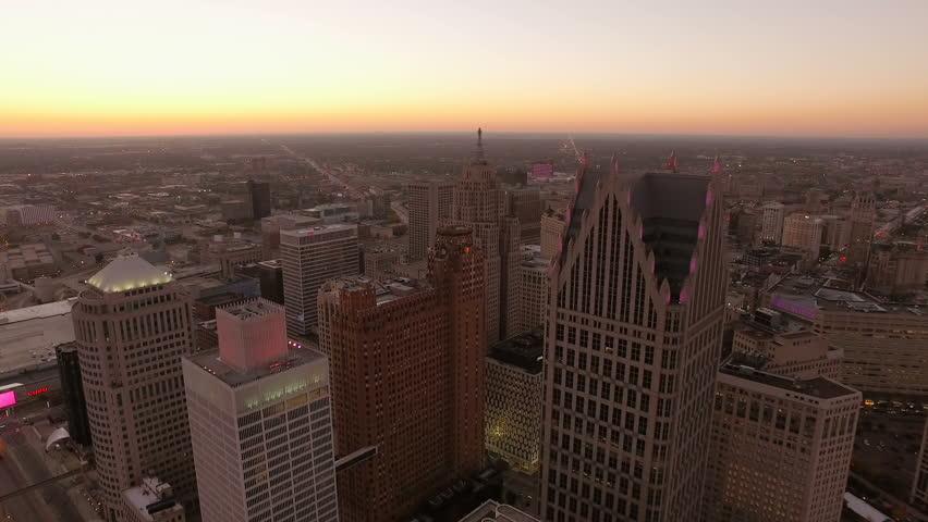 Detroit Aerial v120 Flying over downtown panning down to vertical shot at dusk. 10/15
