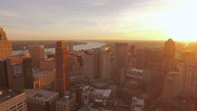 Detroit Aerial v107 Flying low over downtown panning with cityscape sunset views. 10/15 (clip 10488071)