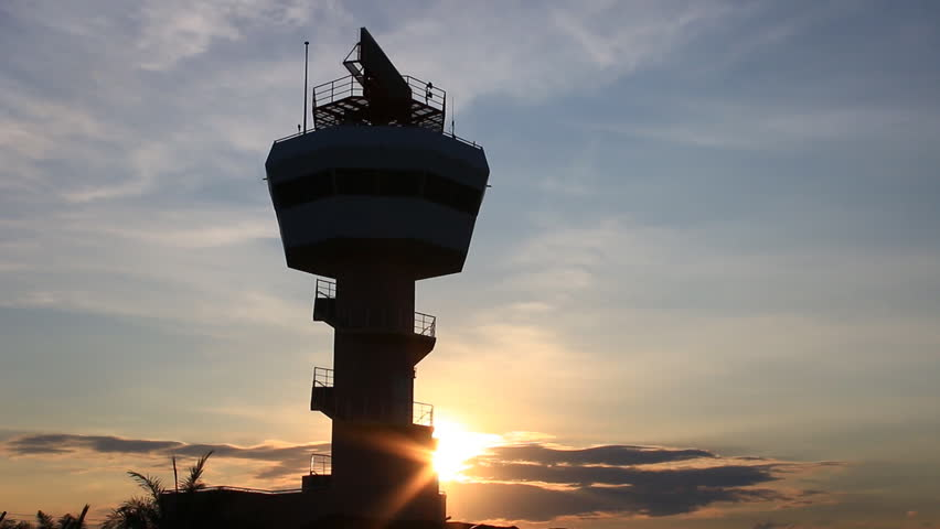 Radar airport control tower with sunlight. Chiang Mai Airport.