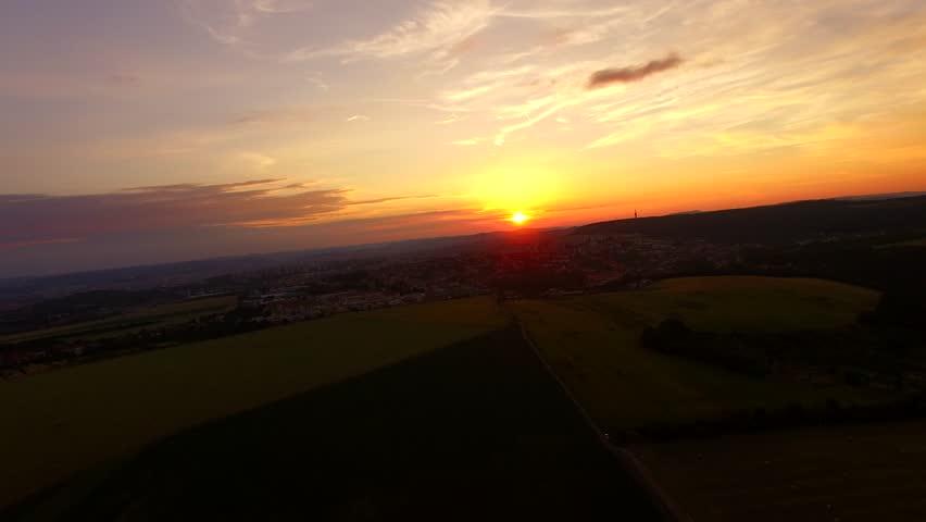 AERIAL: Flight over the corn field in sunrise. 4k | Shutterstock HD Video #17749360