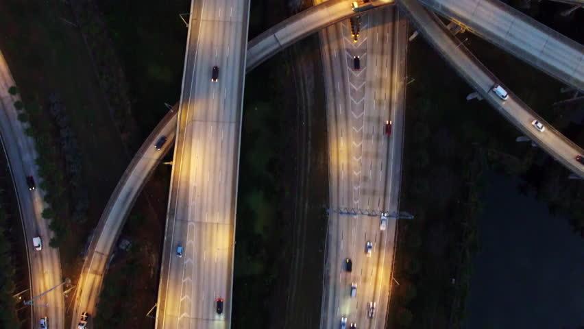 Aerial view of cloverleaf highway interchange in Miami, Florida at night.   Shutterstock HD Video #17750839