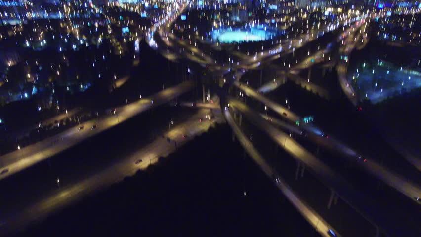 Aerial view of cloverleaf highway interchange in Miami, Florida at night.   Shutterstock HD Video #17750848