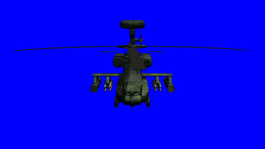 Apache helicopter with blue screen. This clip can be used to composite into your own productions.