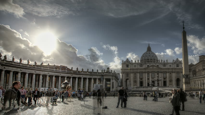 ROME, ITALY - OCTOBER 26 (Timelapse): Timelapse of St. Peter's Square at the Vatican at 26th of October in Rome, Italy
