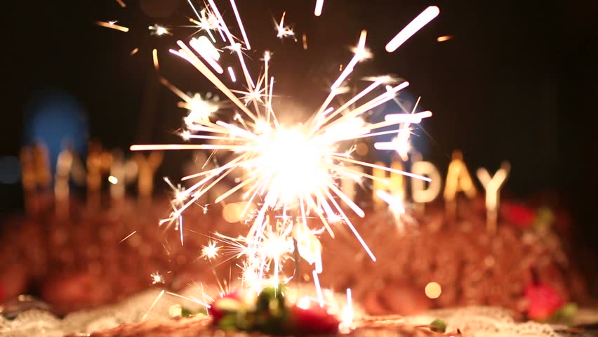 Awesome Burning Sparkler On A Birthday Cake And With Happy Birthday Written Funny Birthday Cards Online Alyptdamsfinfo