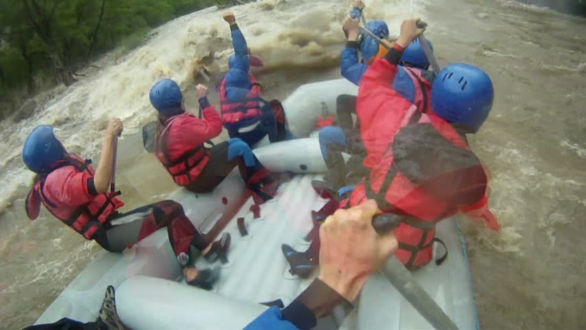 Rafting compilation, whitewater rafting as extreme and fun sport Royalty-Free Stock Footage #17804296