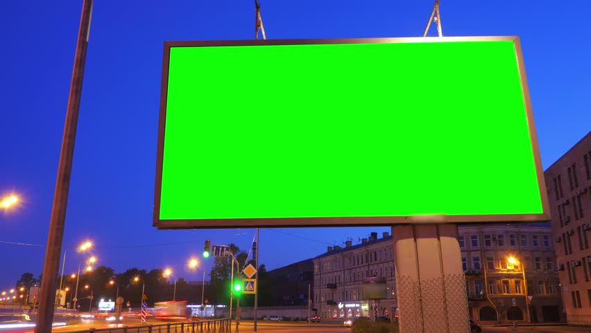 A Billboard with a Green Screen on a Busy Night Street.Time Lapse. | Shutterstock HD Video #17808568