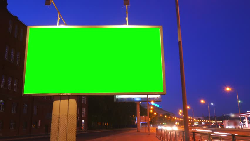 A Billboard with a Green Screen on a Busy Night Street.Time Lapse. | Shutterstock HD Video #17808574