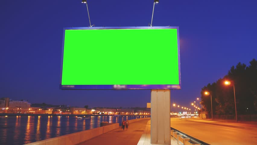 A Billboard with a Green Screen on a Busy Night Street.Time Lapse. | Shutterstock HD Video #17808577