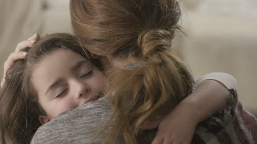 4K Daughter rushes into mother's arms at home and gives her a big hug. Shot on RED EPIC Cinema Camera in slow motion. #17810761