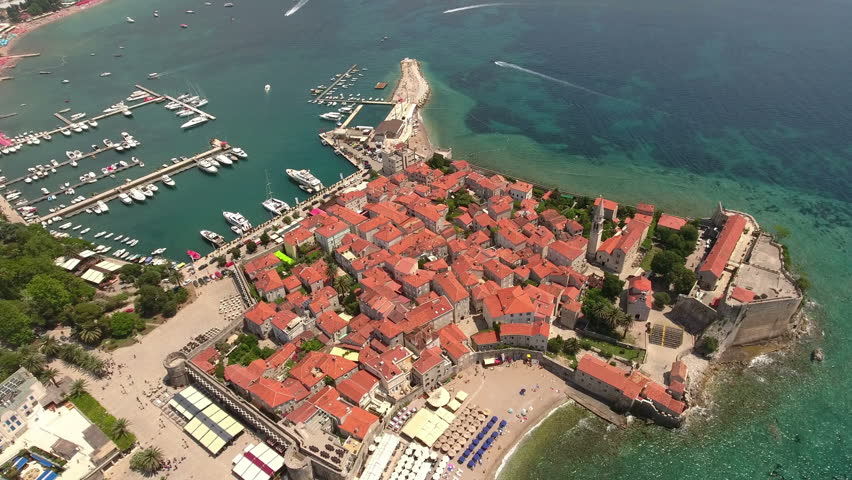 Castle of St Mary, fortification of old town of Budva city. Aerial shot from drone. Adriatic sea, Montenegro, Europe | Shutterstock HD Video #17813518