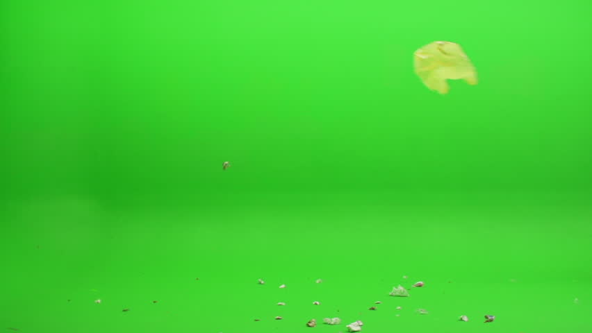 Green screen shot. Foreground element of trash, leaves and other various debris on the floor as a plastic bag blows in and joins the rest on the floor. Shot at 240 fps. | Shutterstock HD Video #17823091