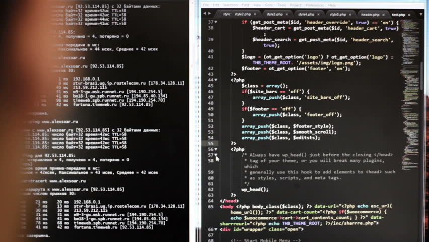 The programmer at work. The code of the website on the computer monitor. (programming code is my own property there is no possible trademark or copyright infringement) Royalty-Free Stock Footage #17834323