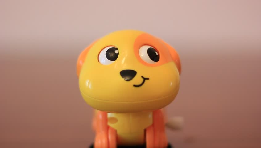 Cute funny dog toy looking around