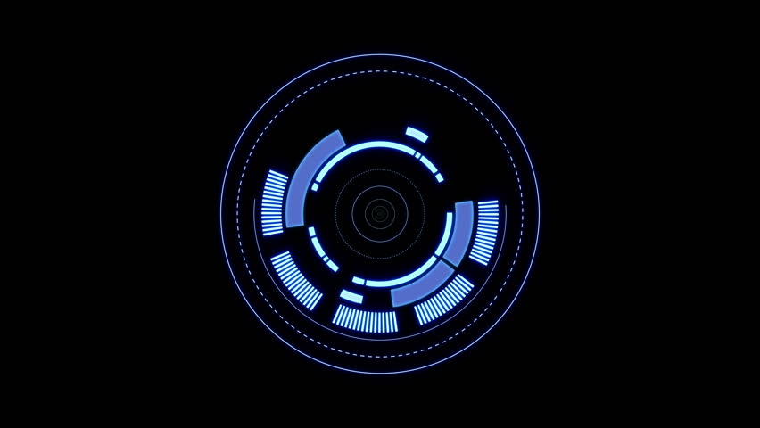 3 HUD circle interfaces with different glowing colors | Shutterstock HD Video #17861338