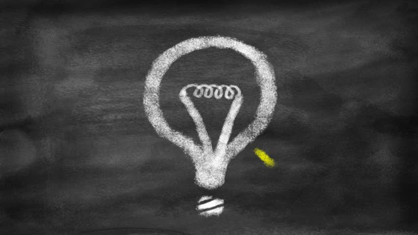 Drawing a question mark transformed into a light bulb. Concept of idea coming from thinking. Motion stop style like with chalk on a blackboard.