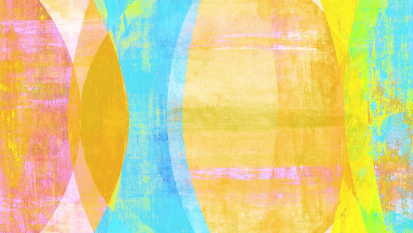 Retro mid-century-style abstract pop art background loop. Yellow version. Moving shapes with grunge effects. Layered collage mixing textures from painting and photography.