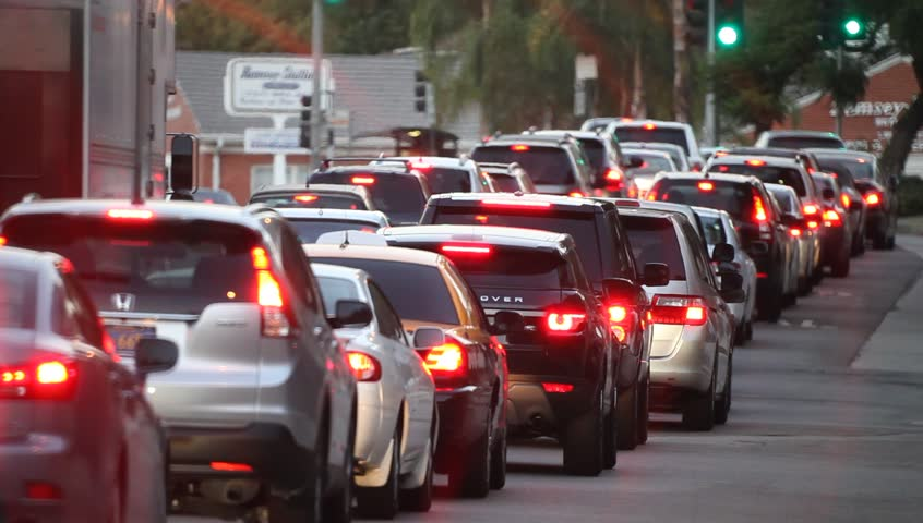 Traffic jam during rushhour in Los Angeles, California