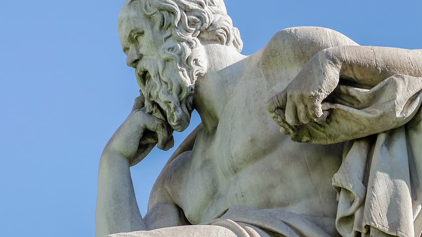 Close Up Statue of the Philosopher Socrates on Sky Background Time Lapse