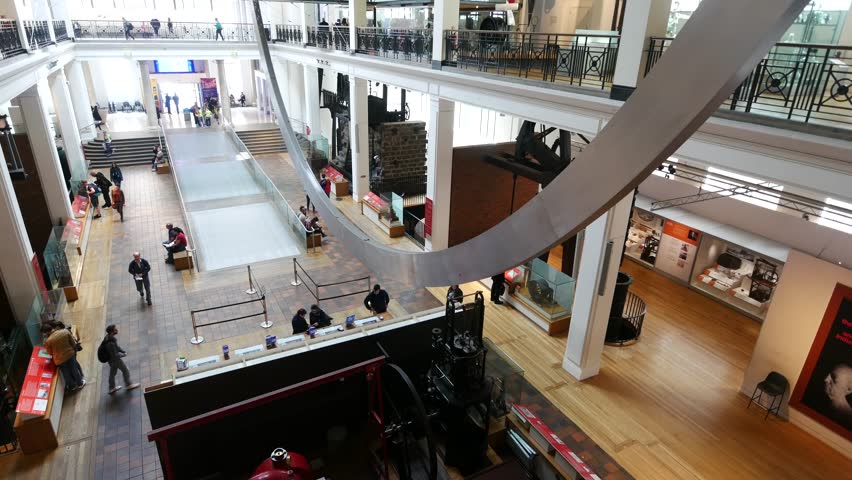 LONDON, UNITED KINGDOM - 19 May 2016:  Inside of Science Museum London with many tourists and students on May 19, 2016. The Science Museum is a major museum on Exhibition Road in South Kensington. | Shutterstock HD Video #17899471