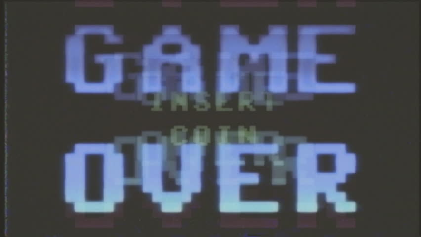 A videogame ending screen, saying Game over - Try again - Insert coin. 8-bit retro style. Treated as it's from an old VHS cassette tape.
