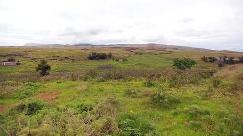 View of the coastal landscape in Easter Island, Chile