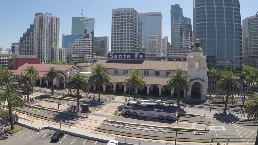 San Diego train station with buildings in the background.   Shutterstock HD Video #17911291