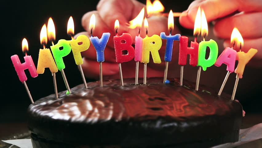 Astounding Lighted Candles On A Happy Birthday Cake Candles With The Words Personalised Birthday Cards Veneteletsinfo