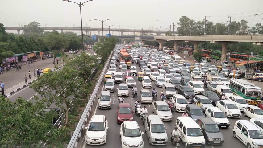 Delhi, India - 8th July 2016 : Vehicles stuck in a traffic jam in Delhi india. These traffic jams are a common occurance due to the huge number of vehicles and poorly planned road networks.
